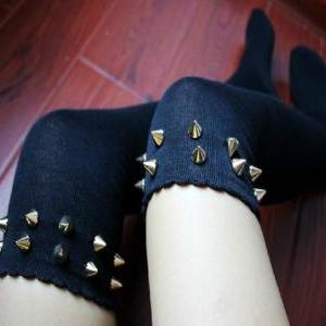 Rock Rivets Thigh High Tights