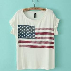 American Flag Print Rolled Grey T-s..
