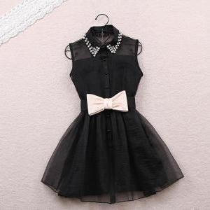 Beaded Dress with Bow in Black and..