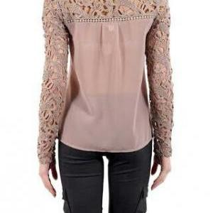 Embroidery Stitching Chiffon Shirt ..