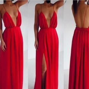Sexy Red Chiffon Backless Strips Dr..