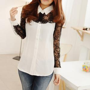 Stitching Lace Shirt Long-sleeved S..