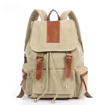 Fashion Cream Retro With Leather Backpack on Luulla