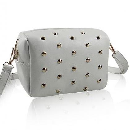 Fresh Sweet Gray Rivet Shoulder Bag..