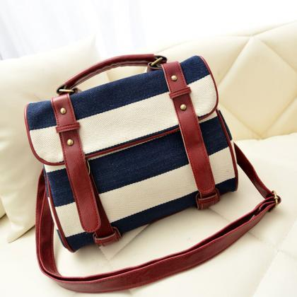 Fashion Blue Striped Canvas Handbag..