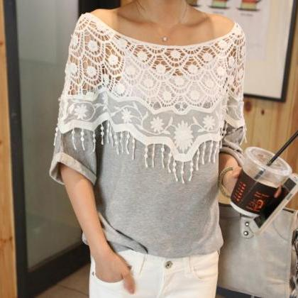 Lace Cutout Shirt Women Handmade Cr..
