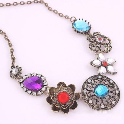 Charm Crystal Flowers Pendant Chain..
