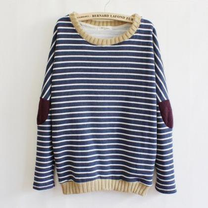 Fashion Striped Patch Sweater OCAPZ..