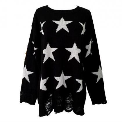 New Fashion Black Star Hollow Out H..