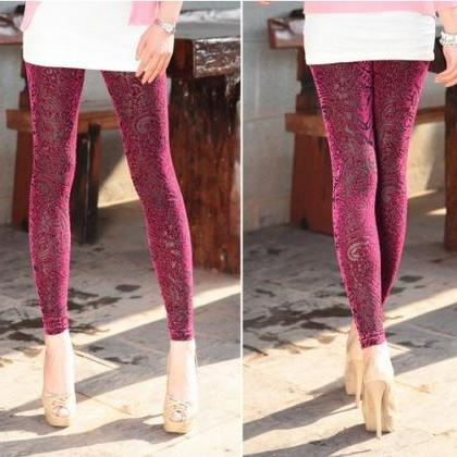 Velvet Leggings Pants Tights Hollow Out Print Tights