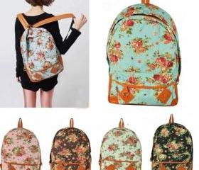 Floral Canvas Vintage Backpack
