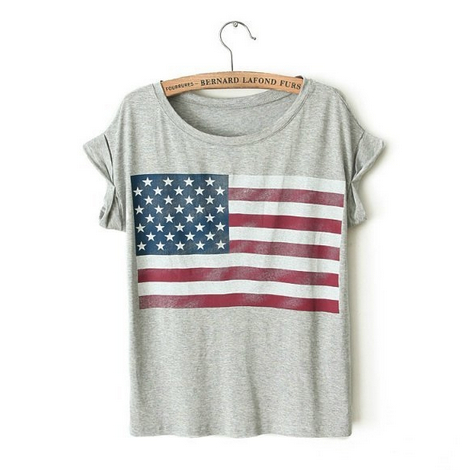 American Flag Print Rolled Grey T-shirt