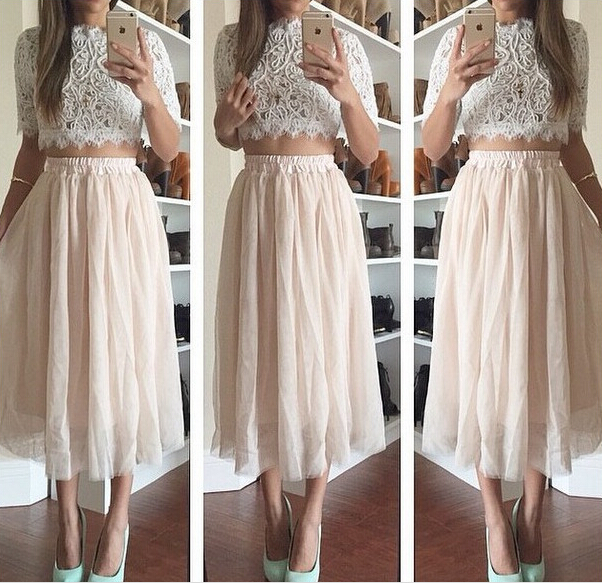 Ladies Lace 2PCS Set Cropped Top  long Skirt Clubwear Party Maxi ...