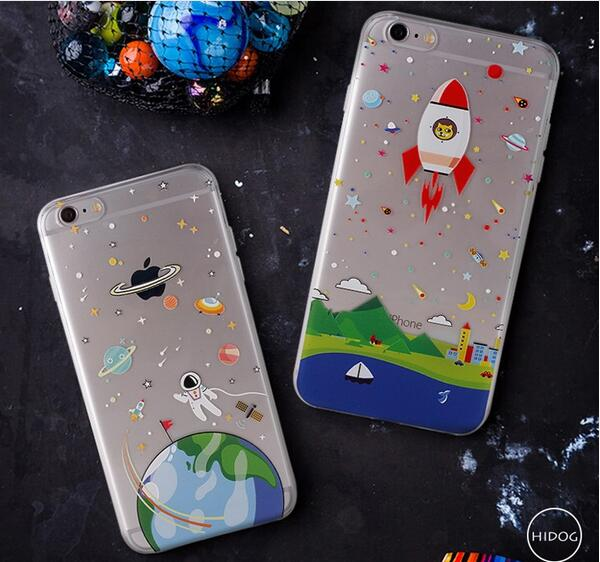 2016 Thin Soft Clear TPU Slim Cartoon Cute Astronaut Spaceship Case For iPhone 6 6s 6 Plus 6s Plus Silicone Phone Case #29