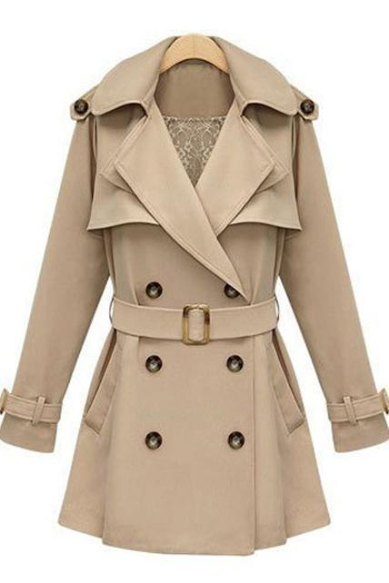 Collared Double-Breasted Belted Trench Coat - Apricot