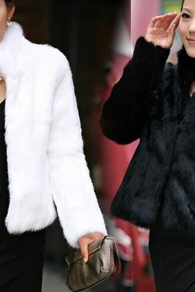 New Women Winter Faux Fox Fur Coat Jacket Outwear Parka Shawl