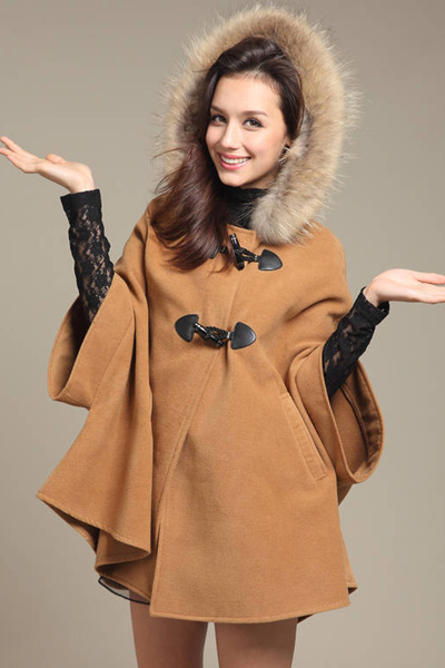 Cheap Korean Style Half Sleeves Single-Breasted Light Tan Regular Hooded Wool Coat