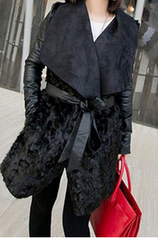 European And American Fashion Pu Leather Jacket Winter Fur Coat Cultivate One'S Morality Jm