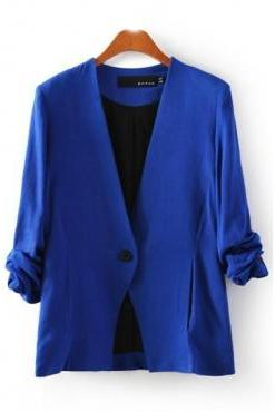 New Style Ruffled Sleeves Single Buckle Designed Solid Blue Cotton Blend Blazer