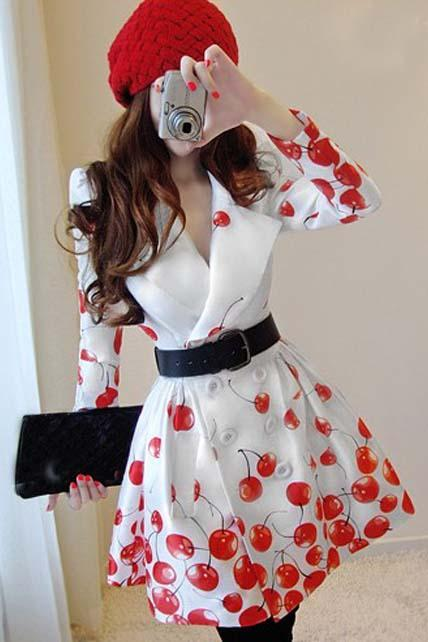Cute Cherry Print Fashion Coat