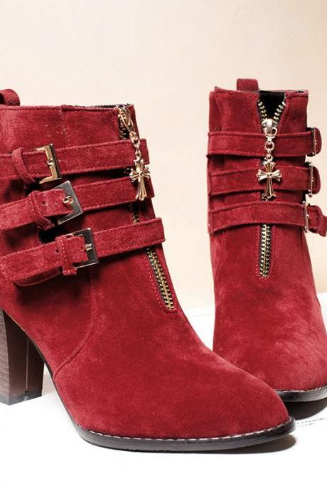 Pointed Toe Thick Heel Zipper Nubuck Leather Buckle Autumn Winter Women Fashion Ankle Boots