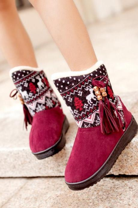 Cute Aztec Design Tassel Winter Boots