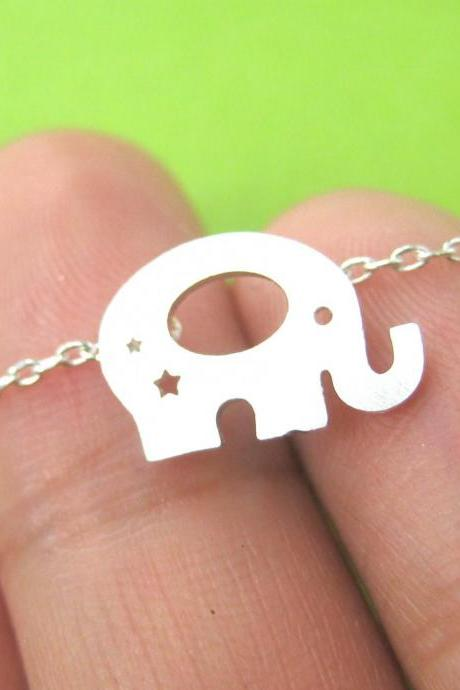 Elephant Baby Silhouette Shaped Pendant Necklace In Silver With Star Cut Outs