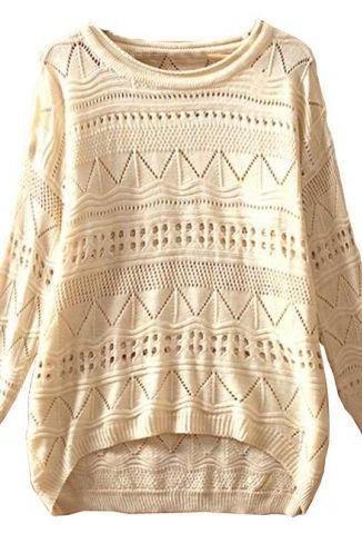 Geometric Eyelet Embellished Knit Jumper Sweater
