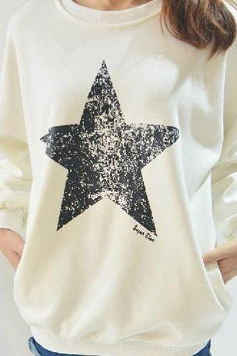 Leisure Simple Star Long Sleeve Warm Sweatshirt