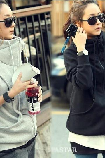 Long Sleeve Fleece Hoodie Thick Coat Cardigan Sweatshirt