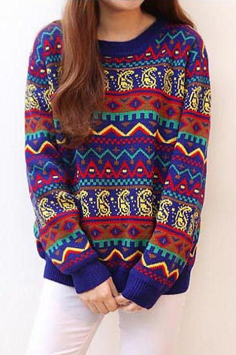Black Geometric Pattern Colorful Pullovers Sweater