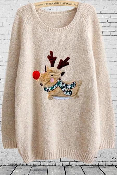 Women'S Fashion Small Fresh Cartoon Christmas Deer Patch Knit Sweater