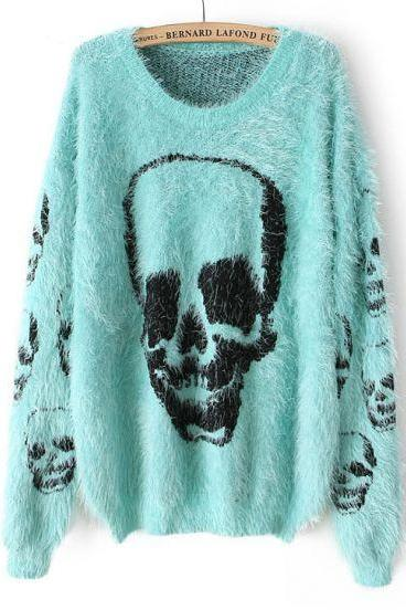 Light Green Long Sleeve Skull Pattern Shaggy Sweater