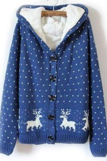 Blue Hooded Long Sleeve Deer Pattern Sweater