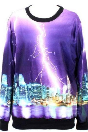 Purple Long Sleeve Lightning City Print Sweatshirt
