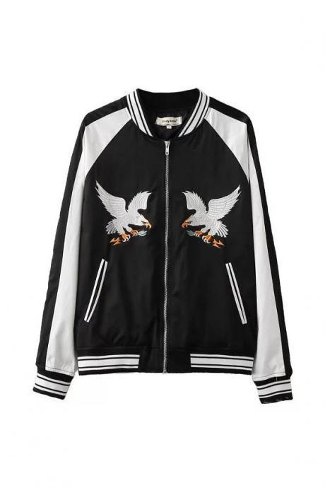 Eagle Embroidered Satin Bomber Jacket coat