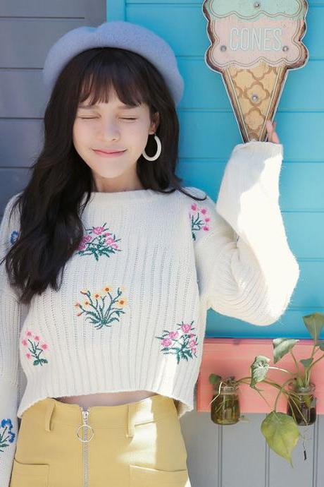 Free Shipping Embroidery Floral sweater knitwear YL-2
