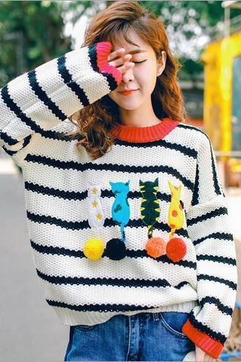 Free shipping cartoon cat stripe knit sweater #404