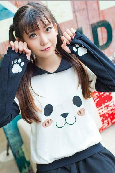 Free shipping cute sailor collar panda sweater #447
