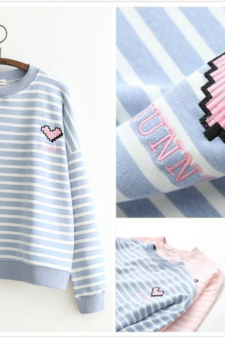 Free shipping heart embroidery with striped sweater top #402