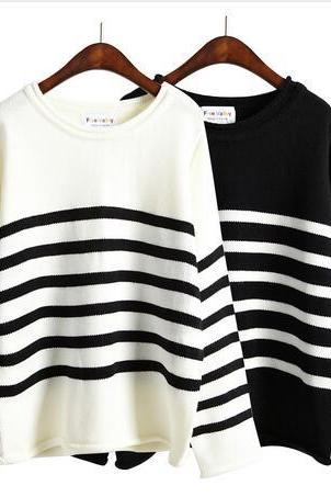 harajuku loose black and white striped long-sleeved knitting sweater #249