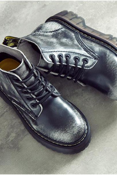Gray Lace Up Martin Boots