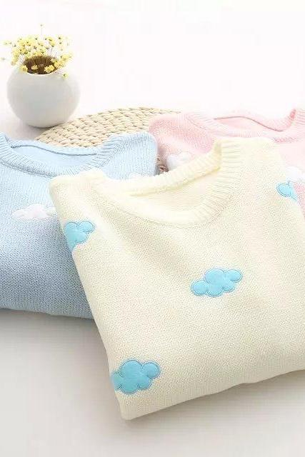Cute Clouds Knit Sweater