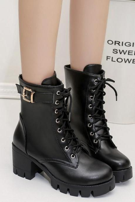 High Block Heels Platform Lace-up Ankle Boots