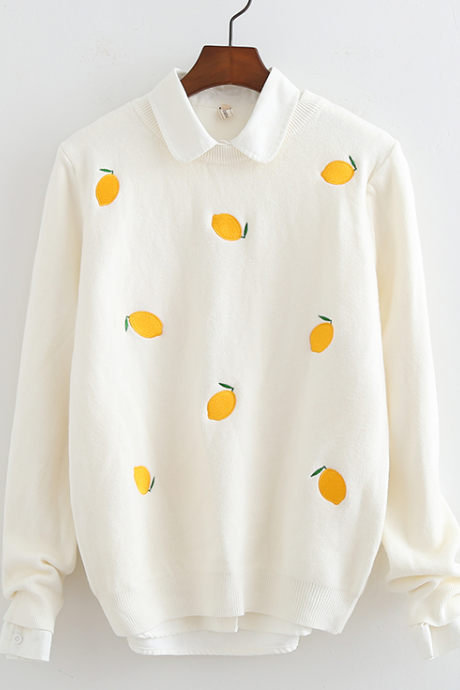 Cute Lemon Embroidered Sweater