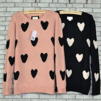 New Sweet Love Heart Printed Floral Sweater &Cardigan