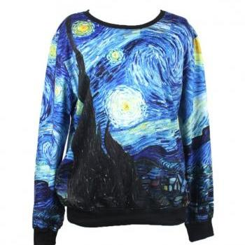 "Van Gogh ""Starry Night"" Crew Neck sweater long sleeve"