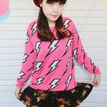Harajuku Thunder Sweater Sweatshirt. Two Color Available