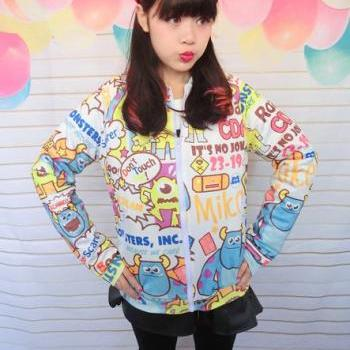 Harajuku Cutie Monsters Printed Jackets