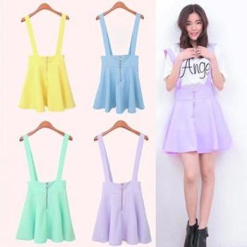 2014 new arrival bright color high waist suspender skirtdress